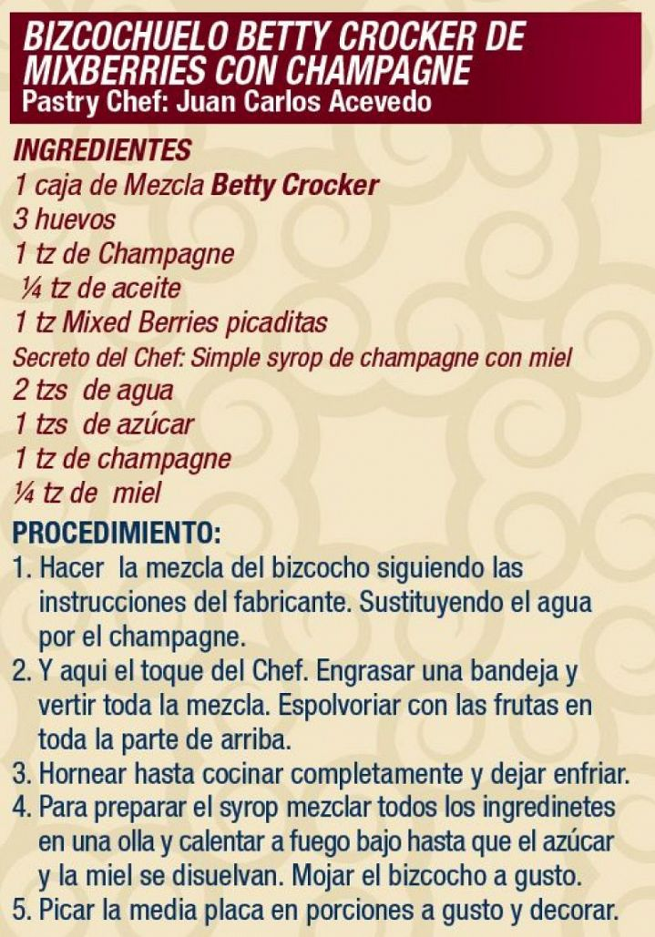 Bizcochuelo Betty Crocker